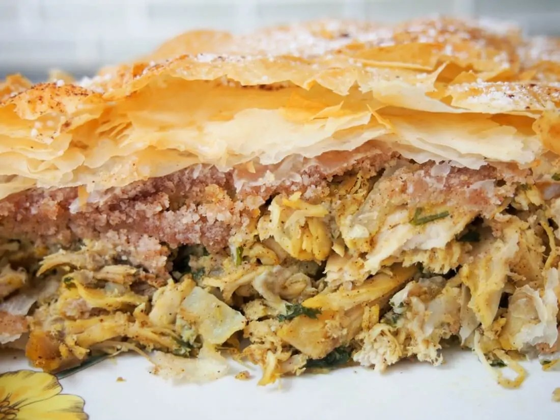 pastilla using leftovers, a Moroccan savory pie