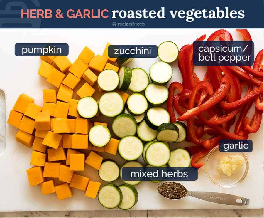 Herb Garlic Roasted Vegetables for Baked Frittata